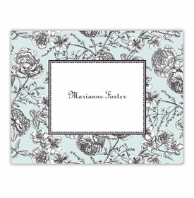 boatman geller floral toile aqua foldover notes