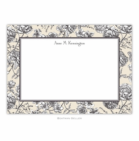 boatman geller floral toile cream large flat notecard