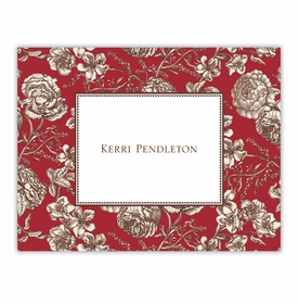 boatman geller floral toile red foldover notes