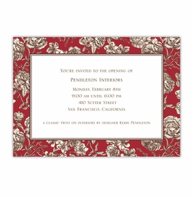 boatman geller floral toile red large flat notecard