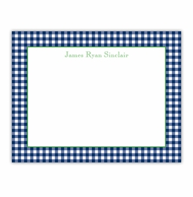 boatman geller gingham navy small flat notecard
