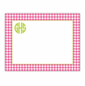 boatman geller gingham raspberry small flat notecard