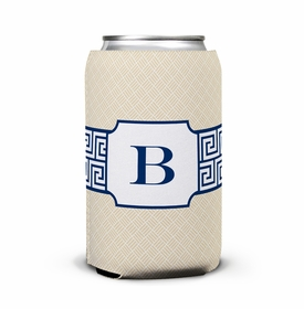 boatman geller greek key band navy can koozie