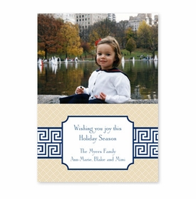 boatman geller greek key band navy photocard