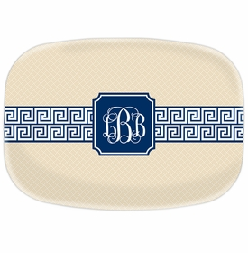 boatman geller greek key band navy platter