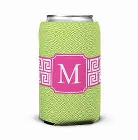 boatman geller greek key band pink can koozie