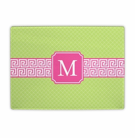 boatman geller greek key band pink cutting board