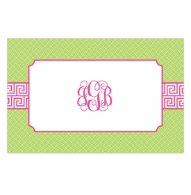 boatman geller greek key band pink placemat
