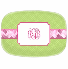 boatman geller greek key band pink platter