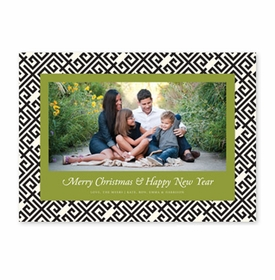 boatman geller greek key black & olive photocard