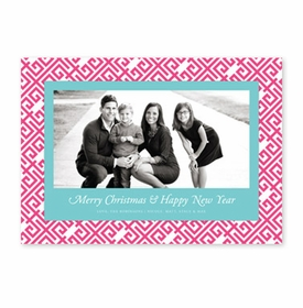 boatman geller greek key hot pink & aqua photocard