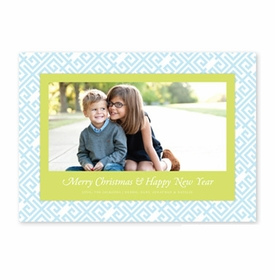 boatman geller greek key light blue & kiwi photocard