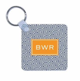 boatman geller greek key navy key chain