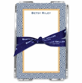 boatman geller greek key navy note sheets in acrylic note sheets