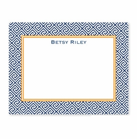 boatman geller greek key navy small flat notecard