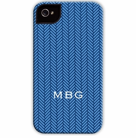 boatman geller herringbone blue cell phone case
