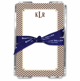 boatman geller herringbone chocolate acrylic note sheets