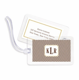 boatman geller herringbone chocolate bag tags