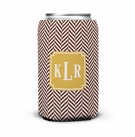 boatman geller herringbone chocolate can koozie