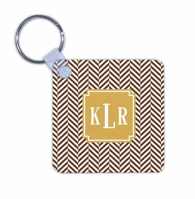 boatman geller herringbone chocolate key chain
