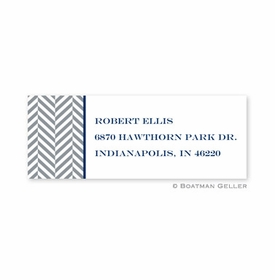 boatman geller herringbone gray address labels