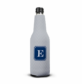 boatman geller herringbone gray bottle koozie