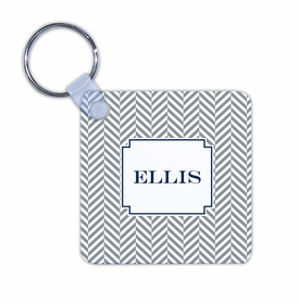 boatman geller herringbone gray key chain