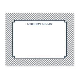 boatman geller herringbone gray small flat notecard