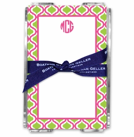 boatman geller kate raspberry & lime acrylic note sheets