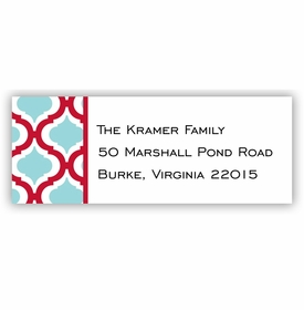 boatman geller kate red & teal address labels
