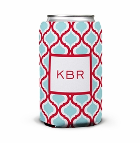 boatman geller kate red & teal can koozie