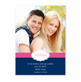 boatman geller label chic navy & raspberry photocard