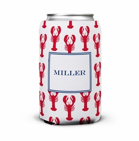 boatman geller lobsters red can koozie