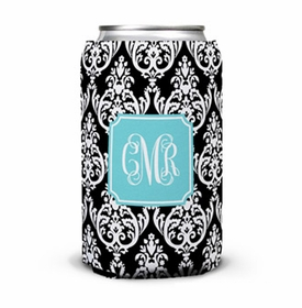 boatman geller madison damask black can koozie
