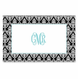 boatman geller madison damask black disposable placemat pads