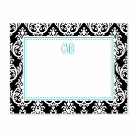 boatman geller madison damask black small flat notecard