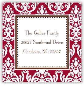 boatman geller madison damask chocolate square sticker
