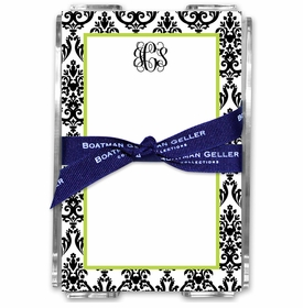boatman geller madison damask white with black acrylic note sheets