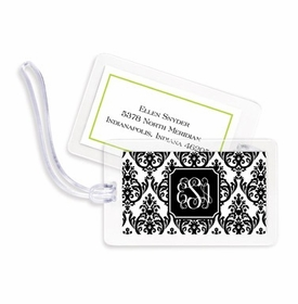 boatman geller madison damask white with black bag tags