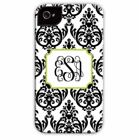 boatman geller madison damask white with black cell phone case