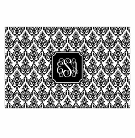 boatman geller madison damask white with black disposable placemats