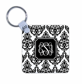 boatman geller madison damask white with black key chain