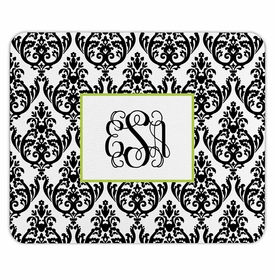 boatman geller madison damask white with black mouse pad