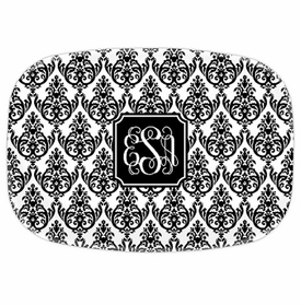 boatman geller madison damask white with black platter