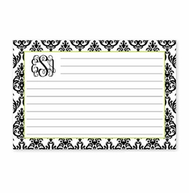 boatman geller madison damask white with black recipe card