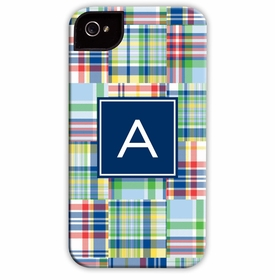 boatman geller madras patch blue cell phone case