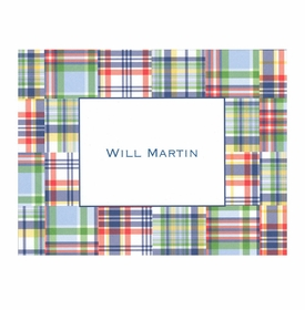 boatman geller madras patch blue foldover note