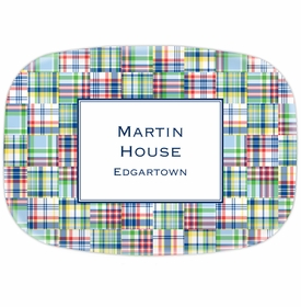 boatman geller madras patch blue platter