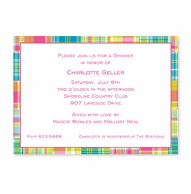 boatman geller madras patch bright stationery/announcement card