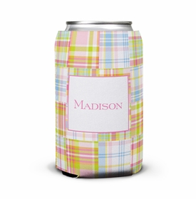 boatman geller madras patch pink can koozie